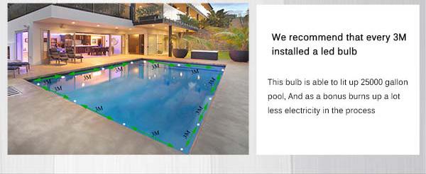 54W high power Glass Cover RGB led swimming pool light IP68 AC12