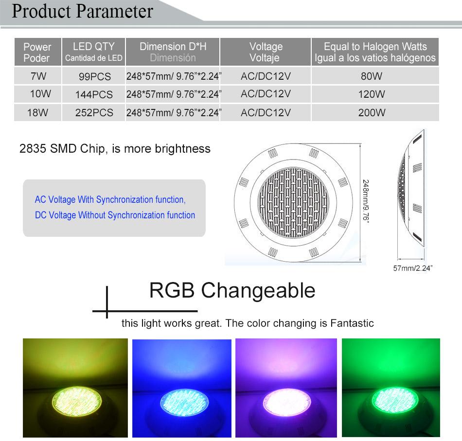 Small 18W RGB SMD2835 led swimming pool light IP68 AC12V