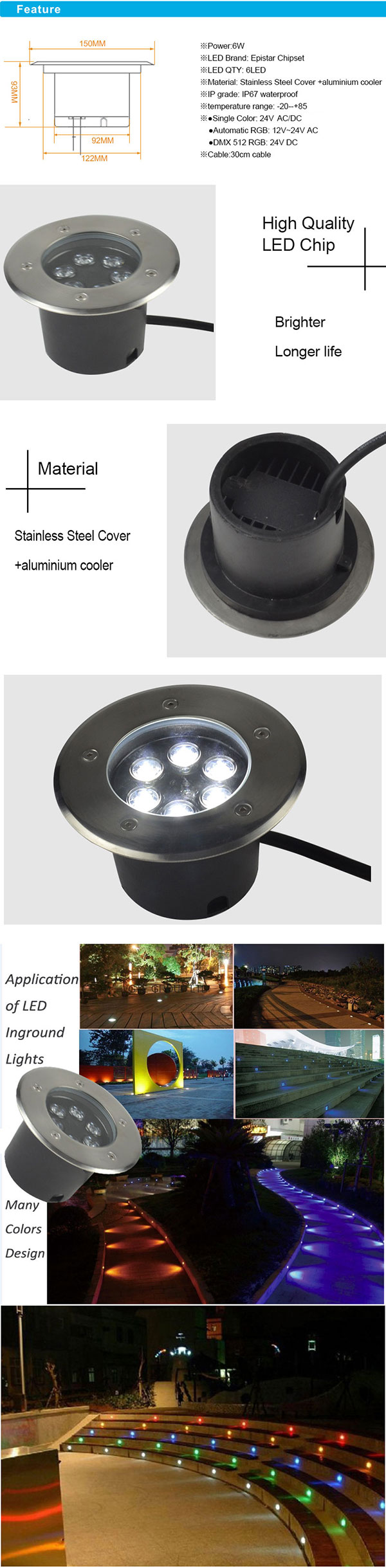 6W IP67 Stainless Steel RGB LED Inground with Aluminum Cooler