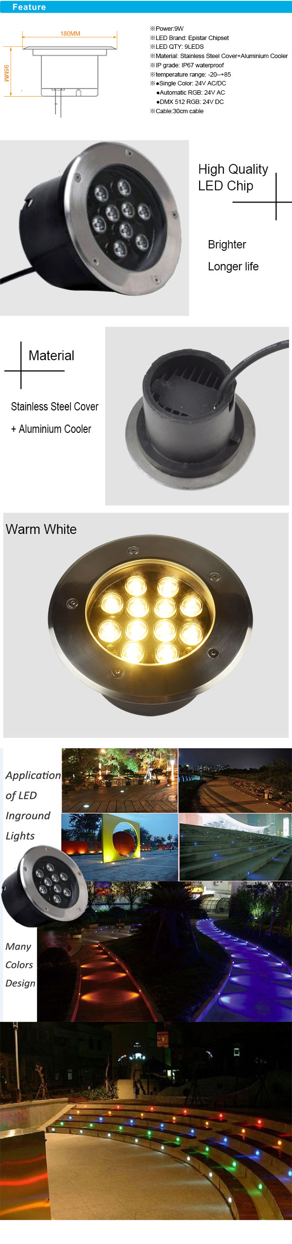 9W IP67 Stainless Steel RGB LED Inground with Aluminum Cooler